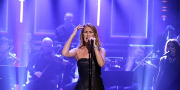 THE TONIGHT SHOW STARRING JIMMY FALLON -- Episode 0505 -- Pictured: Musical guest Céline Dion performs...