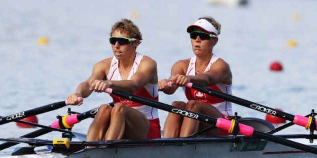 RIO DE JANEIRO, BRAZIL - AUGUST 11:  Lindsay Jennerich and Patricia Obee of Canada compete in the Lightweight Women's Double Sculls Semi Finals on Day 6 of the 2016 Rio Olympics at Lagoa Stadium on August 11, 2016 in Rio de Janeiro, Brazil.  (Photo by Alexander Hassenstein/Getty Images)