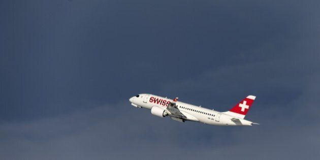 A Bombardier CSeries CS100 commercial plane of Swiss International Air Lines takes off on January 15,...