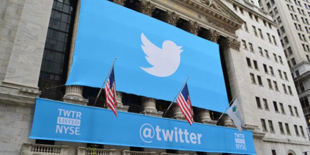 New York City, USA - November, 7 2013: Banner on the New York Stock Exchange marking Twitters IPO in...