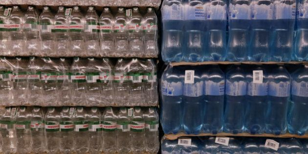 Packs of bottled water for sale are pictured at Metro Cash and Carry store in Kiev, Ukraine, August 17,...