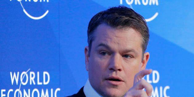 US actor Matt Damon gestures as he speaks at the World Economic Forum in Davos, Switzerland, Tuesday,...