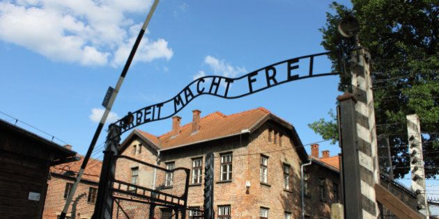 Oswiecim, Poland - July 23, 2011: The main entrance gate to Auschwitz concentration camp, Poland. It...