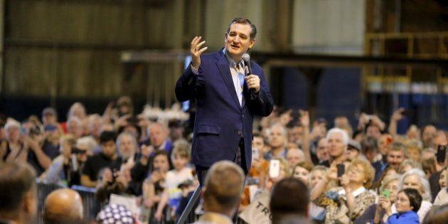Republican U.S. presidential candidate Senator Ted Cruz speaks during a campaign event in Williamsport...