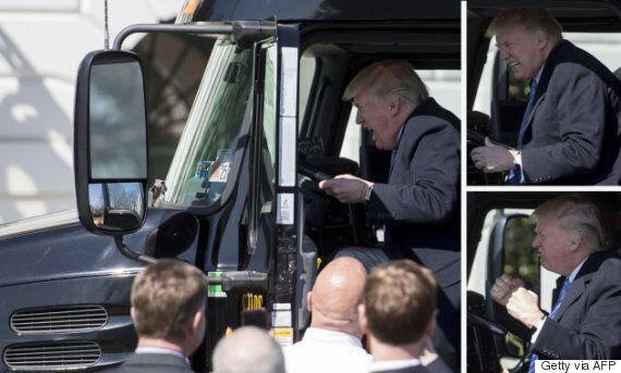 Ces photos de Trump qui s'amuse dans un gros camion valent le