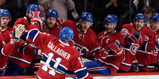 Mar 28, 2017; Montreal, Quebec, CAN; Montreal Canadiens forward Brendan Gallagher (11) reacts with teammates...