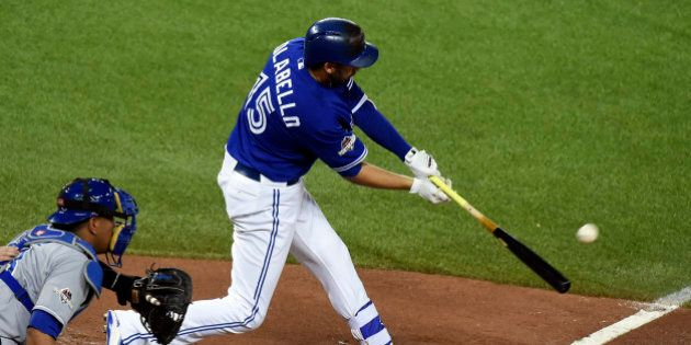 Oct 21, 2015; Toronto, Ontario, CAN; Toronto Blue Jays first baseman Chris Colabello (15) hits a home...