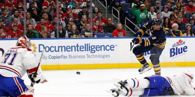Apr 5, 2017; Buffalo, NY, USA; Montreal Canadiens goalie Carey Price (31) makes a save on a shot by Buffalo...
