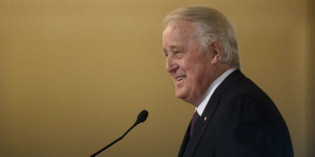 Brian Mulroney, Canada's former prime minister, speaks during the Canadian Council for the America's New Strategies for a New North America conference in Toronto, Ontario, Canada, on Tuesday, Feb. 21, 2017. The foreign ministers of Mexico and Canada presented a unified front ahead of potential trade talks with Donald Trump's administration, stressing the North American Free Trade Agreement has benefited all three countries. Photographer: Cole Burston/Bloomberg via Getty Images