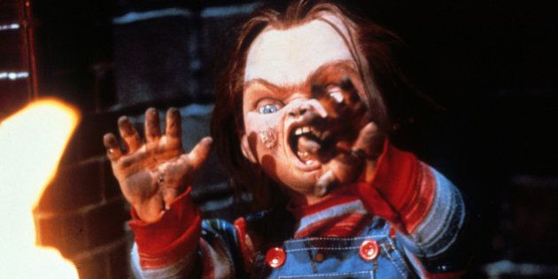 Chucky near flames in a scene from the film 'Child's Play', 1988. (Photo by United Artists/Getty