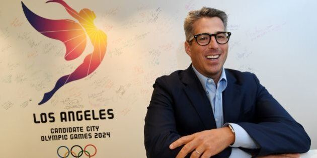 Casey Wasserman who is the chairman of the LA 2024 Candidature Committee talks to the press about the...