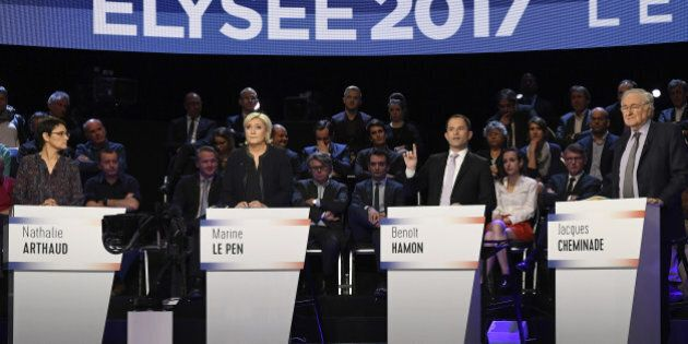 Candidates attend a prime-time televised debate for the French 2017 presidential election in La Plaine...