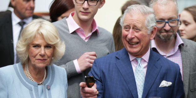 Britain's Prince Charles and his wife Camilla, Duchess of Cornwall, visit the winery Obermann on April...