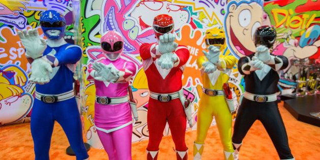 SAN DIEGO, CA - JULY 22: Fans dressed as Power Rangers attend Comic-Con International 2016 - Day 2 on...