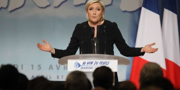French presidential election candidate for the far-right Front National (FN) party, Marine Le Pen speaks...