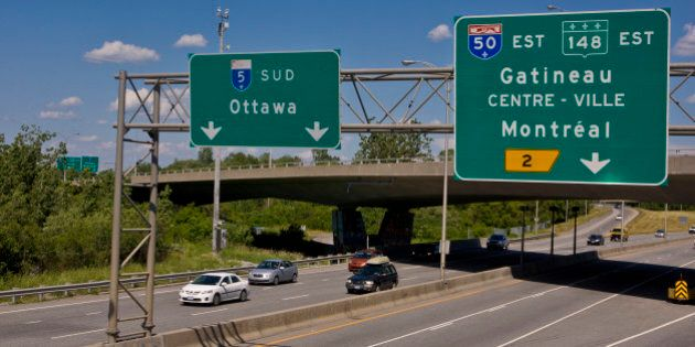 GATINEAU, CANADA - JUNE 30: The Highway 5 freeway, across the river from Ottawa, is viewed on June 30,...