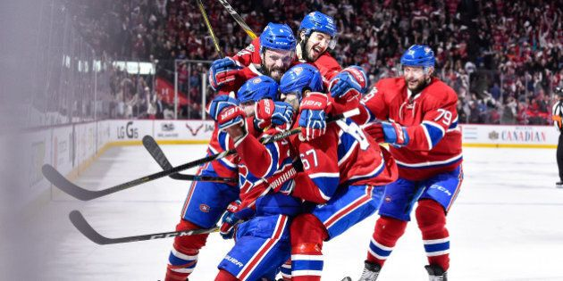 MONTREAL, QC - APRIL 14: Alexander Radulov #47 of the Montreal Canadiens celebrates his overtime goal...