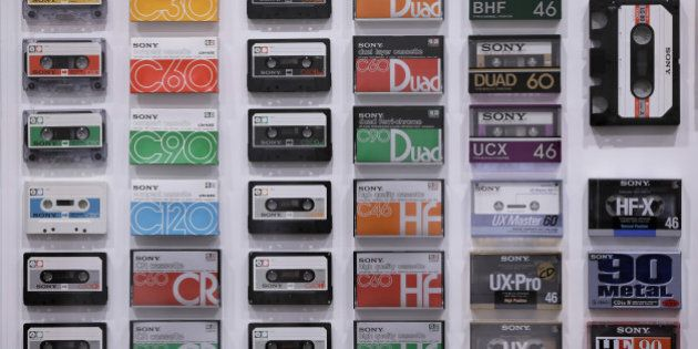 Various Sony Corp. cassette tapes are displayed at the 'It's a Sony' exhibition in Tokyo, Japan, on Saturday,...