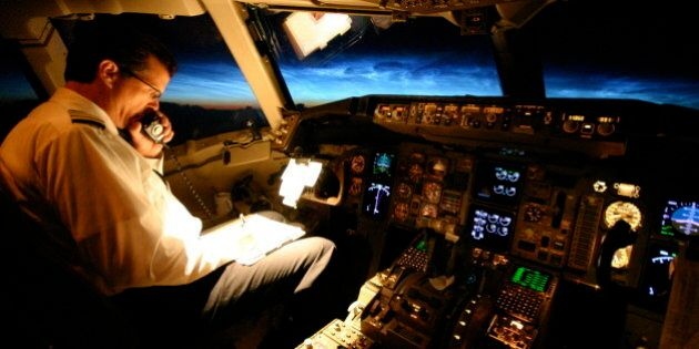 Captain flying a Boeing 767 over the North Atlantic just before