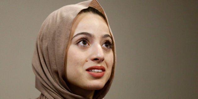 Bayan Zehlif, 17, speaks during a news conference on Monday, May 9, 2016 in Anaheim, Calif. Zehlif has...