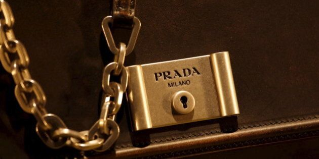 A Prada product is seen inside a display window at the financial Central district of Hong Kong, China...