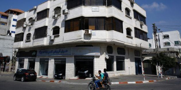 A picture taken on August 4, 2016, shows the office of the US-based Christian NGO, World Vision, in Gaza...