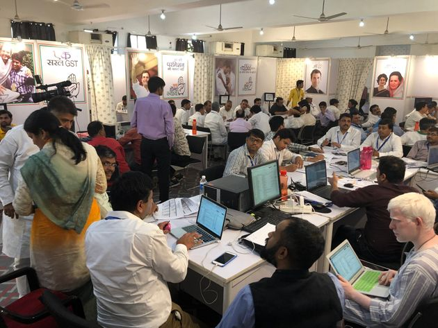 Congress's War Room in Jaipur on the day of polling on May 6,