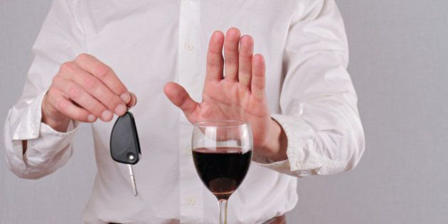 Man refuses to drink wine. Don't drink and drive
