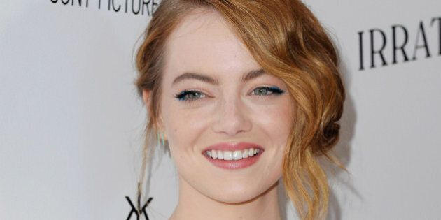 LOS ANGELES, CA - JULY 09: Actress Emma Stone arrives 'Irrational Man' at Writers Guild Awards on July...