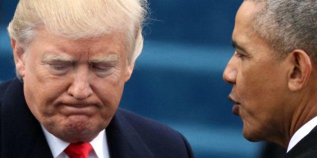 U.S. President Barack Obama (R) greets President-elect Donald Trump at inauguration ceremonies swearing...