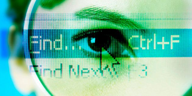 Mouse Icon On Find Over Person's Eye Through Magnifying