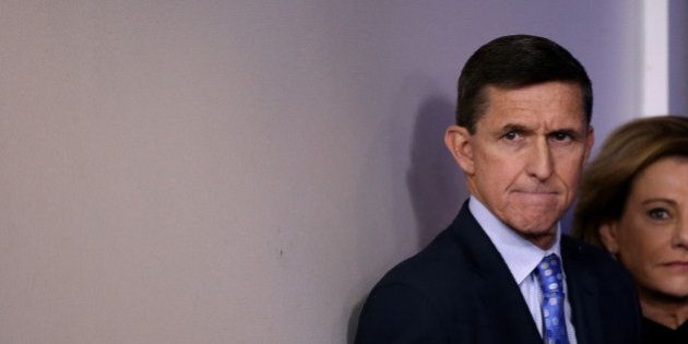 National security adviser General Michael Flynn arrives to deliver a statement during the daily briefing...