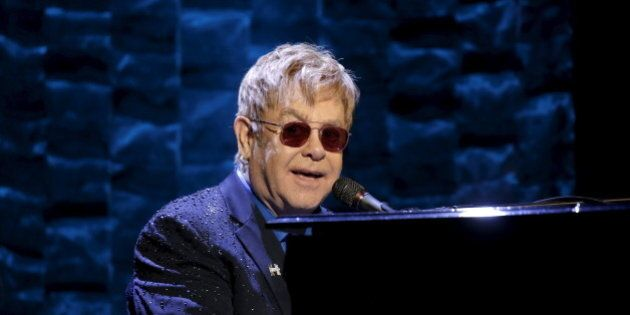 Singer Elton John performs at the Hillary Victory