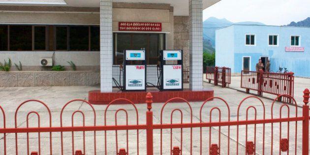 PYONGYANG, NORTH KOREA - SEPTEMBER 12: Closed gas station, pyongyang, North Korea on September 12, 2012...