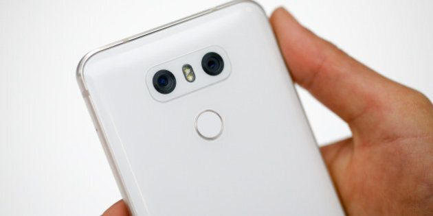 Dual rear-facing cameras sit on the back of a LG G6 smartphone, manufactured by LG Electronics Inc. on...