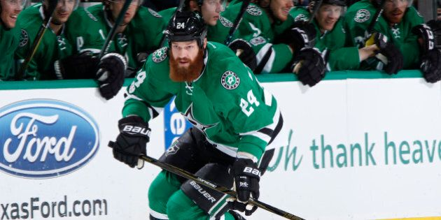 DALLAS, TX - FEBRUARY 24: Jordie Benn #24 of the Dallas Stars handles the puck against the Arizona Coyotes...