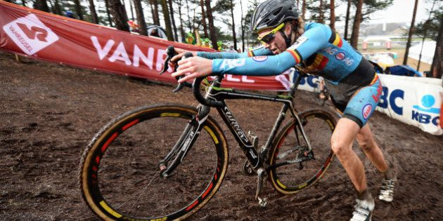 Belgian Femke Van Den Driessche races during the women's U23 race at the world championships cyclocross...
