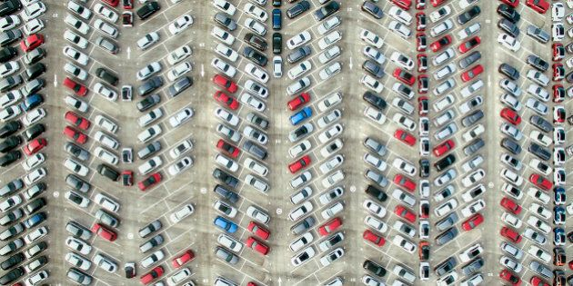 Aerial view of parked
