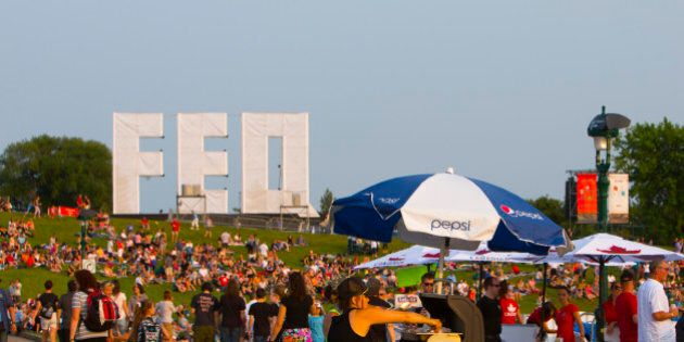 An 'FEQ' signage installation at the 2015 Festival D'ete De Quebec in Quebec City, Canada (Photo by Michael...