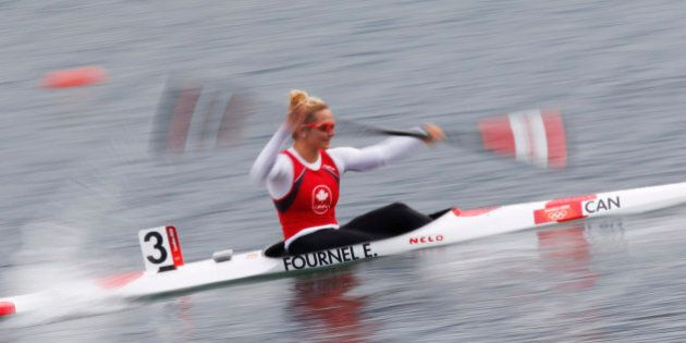 Canada's Emilie Fournel competes in the women's kayak single (K1) 500m heat at the Eton Dorney during...