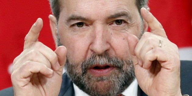New Democratic Party leader Thomas Mulcair speaks during a news conference in Ottawa, Canada, January...