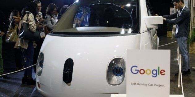 PARIS, FRANCE - JUNE 30: A Google self-driving car project is displayed during the Viva Technology show...