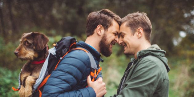 Gay couple is having fun in the woods with their dog. Carrying a dog in a backpack on his back. They...