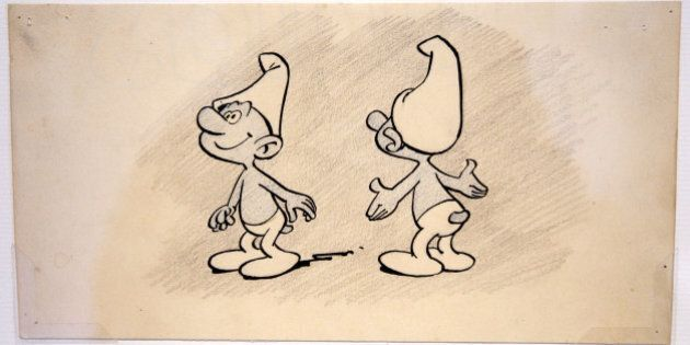 A drawing depicting a Smurf (Schtroumpf in French) is displayed during an exhibition entitled 'Pierre...
