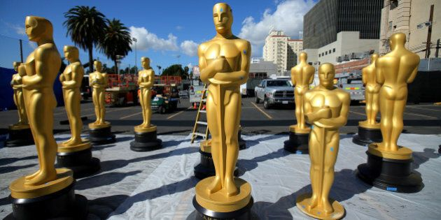 Oscar statues wait for a fresh coat of gold paint as preparations begin for the 89th Academy Awards in...