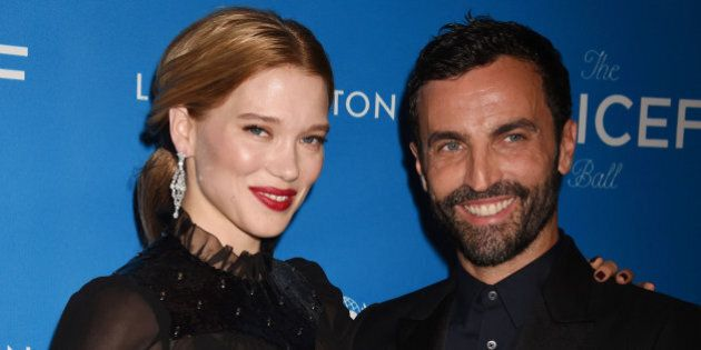 BEVERLY HILLS, CA - JANUARY 12: Actress Lea Seydoux (L) and fashion designer Nicolas Ghesquière arrive at the 6th Biennial UNICEF Ball at the Beverly Wilshire Four Seasons Hotel on January 12, 2016 in Beverly Hills, California.(Photo by Jeffrey Mayer/WireImage)