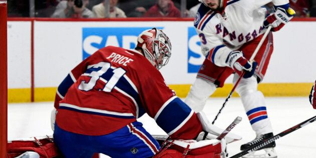Apr 20, 2017; Montreal, Quebec, CAN; Montreal Canadiens goalie Carey Price (31) makes a save against...
