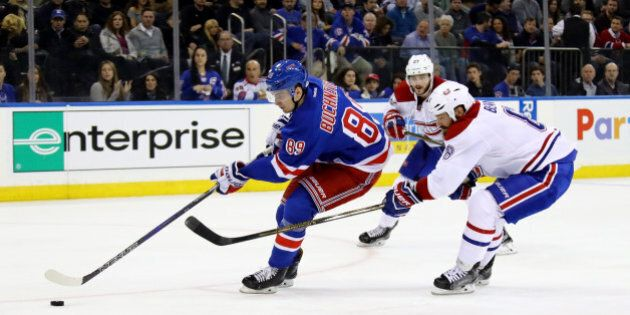NEW YORK, NY - APRIL 22:  Pavel Buchnevich #89 of the New York Rangers skates with the puck against the Montreal Canadiens during the second period in Game Six of the Eastern Conference First Round during the 2017 NHL Stanley Cup Playoffs at Madison Square Garden on April 22, 2017 in New York City.  (Photo by Bruce Bennett/Getty Images)
