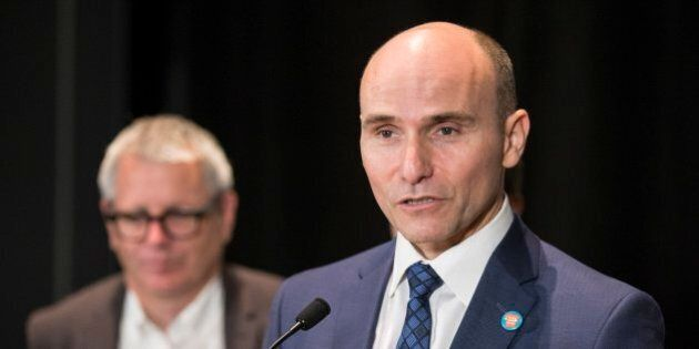 TORONTO, ON - SEPTEMBER 30 - Jean-Yves Duclos, Federal Minister of Families, speaks to the media after...