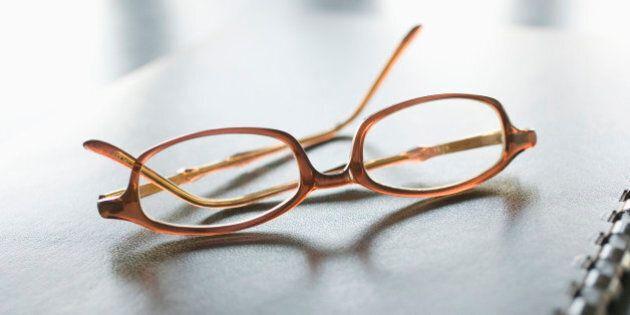 Eyeglasses and notebook